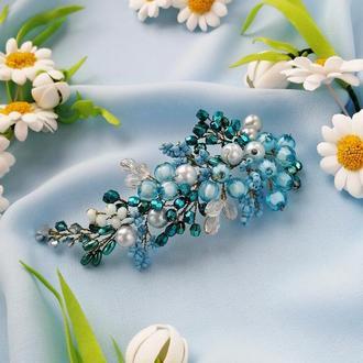 Невелика блакитна гілочка для волосся, гілочка з намистин, прикраса в зачіску