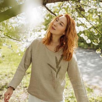 Льняная бежевая рубашка женская туника с росписью ручной работы