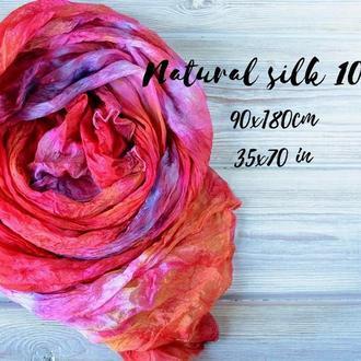 шелковый шарф эксклюзивный Оранжевый розовый фиолетовый ручное крашение