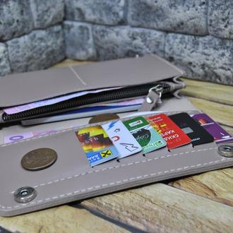 Кожаный кошелек в бежевом цвете K41-beige капри