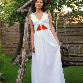Женское вышитое платье бисером П18-21