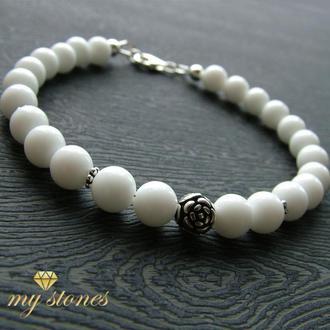 """Браслет из белого агата и серебра 925 пробы """"White Lotus"""""""