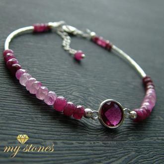 "Браслет из рубина розового кварца и серебра 925 пробы ""Pink heart"""