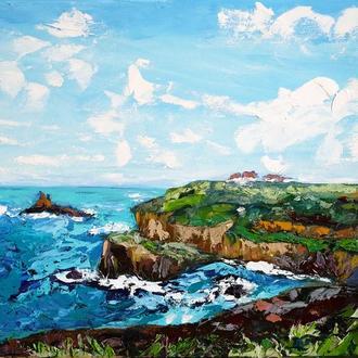 Морской пейзаж Корноулл, побережье Англии, картина маслом на холсте