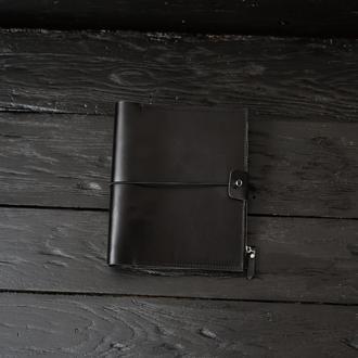 Черный кожаный блокнот ежедневник