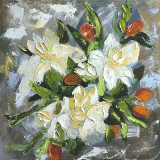 """Современная картина """"Белые цветы"""", картина маслом на холсте 50*50 см"""