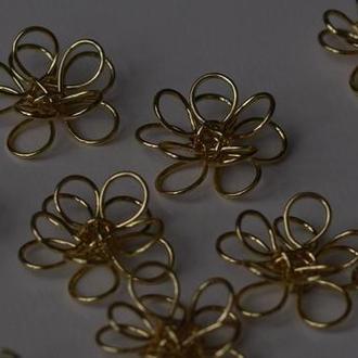 Набор 10 шт Позолоченные цветы из стальной проволоки, эксклюзив