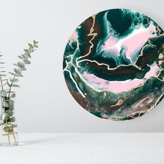 Темна стильна абстракція 30 см інтер'єрна картина акрил поталу золото