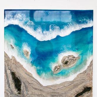 Інтер'єрна картина епоксидною смолою море Resin art подарунок реалістичне море абстракція