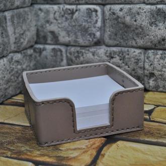 Кожаный лоток для блока канцелярской бумаги L01-beige