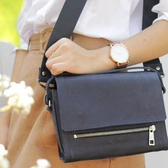 """Шкіряна жіноча сумочка через плече синя """"Азалія"""""""