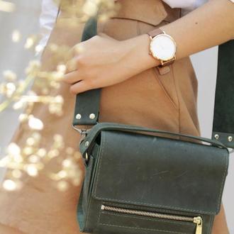 """Шкіряна жіноча сумочка через плече коньяк """"Азалія"""""""