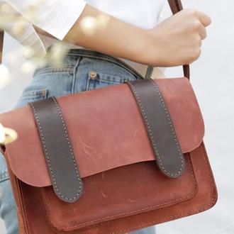 Шкіряна жіноча сумочка через плече коньяк Сэтчел