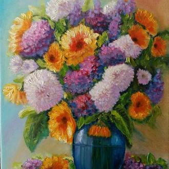 """Картина маслом на холсте  """"Цветы в синей вазе""""."""