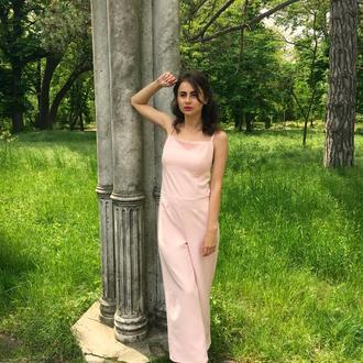 Розовый женский комбинезон с брюками