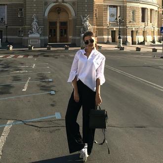 Женская хлопковая рубашка белого цвета. Базовая офисная белая блуза.