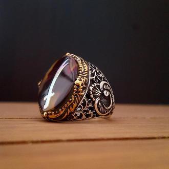 Перстень с мечом Зульфикар под эмалью гравировка ручной работы в серебряной оправе