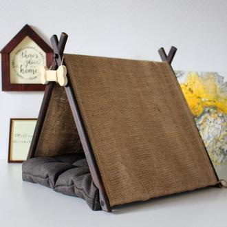 Деревяный домик для собаки кошки лежак гамак когтеточка матрасик миски