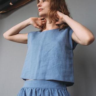 Льняной кроп топ футболка блуза ручной работы