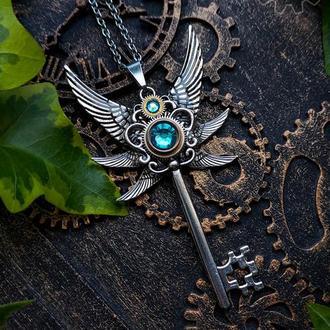 Кулон ключ с крыльями на стальной цепочке в стиле стимпанк фэнтези (в наличии 1 шт.)