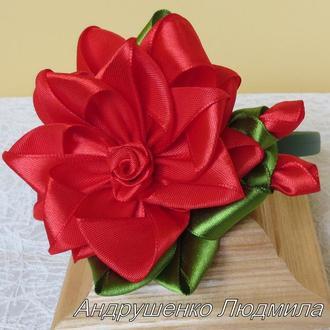 Обруч с красной розой