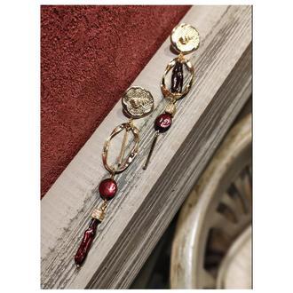 Длинные асимметричные серьги с жемчгом и фианитами, позолоченные серьги висюльки. серьги в мосрском