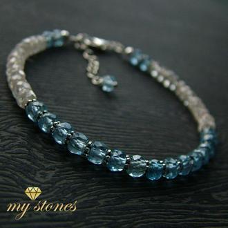 """Браслет из голубой шпинели и серебра 925 пробы """"Blue crystal"""""""