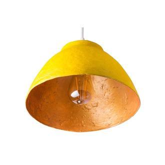 Подвесной светильник из усиленного папье-маше желтый P006-19
