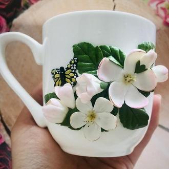 Чашка с декором «Яблоневый цвет»