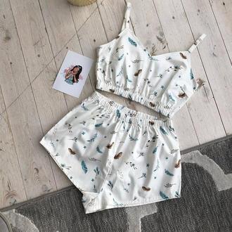"""Женская пижама """"Невесомость"""" с топом и шортами на подарок девушке/жене/подруге"""