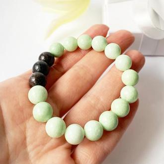 """Браслет з натуральних каменів """"Авокадо"""" (модель № 574) JK jewelry"""