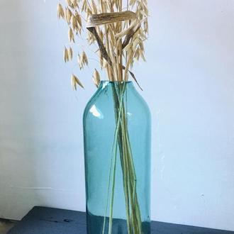 Голуба скляна ваза для сухоцвітів 21 см висотою