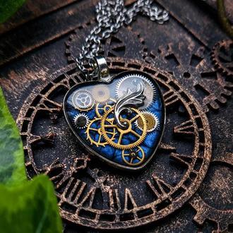 Кулон серце з деталями від справжніх годинникових механізмів в стилі steampunk (в наявності 2 шт.)