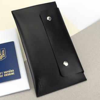 Тревел-конверт для путешествий  кожаный на кнопках HC черный