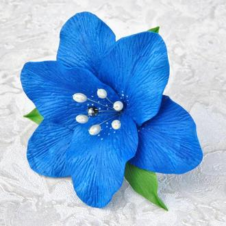 Лилия заколка для волос Синий цветок в прическу