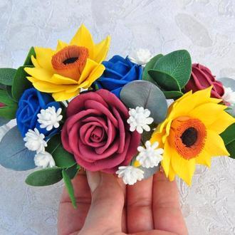 Гребень для волос с цветами Заколка с синими, бордовыми розами и подсолнухами
