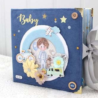 В наличии скрап альбом для новорожденного мальчика , фотоальбом для малыша, подарок новорожденному