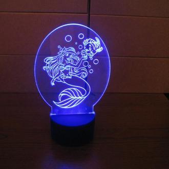 Ночник Русалочка Ариэль, светильник, LED лампа, принцессы, Дисней, игрушка, подарок девочке, дизайн