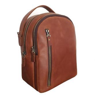 Женский кожаный рюкзак GS коньячный