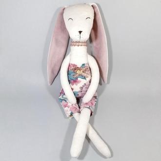 Цветочный кролик Белый меховой заяц Большая мягкая игрушка зайчик