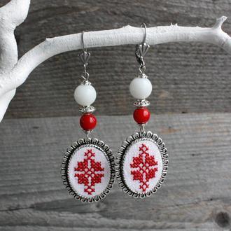 Красные серьги с кораллом Длинные свадебные серьги в украинском стиле Этно серьги