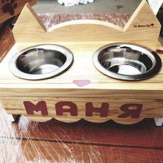 """Именная подставка """"Котик"""" с мисками для вашего питомца ручной работы с индивидуальным дизайном"""