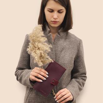 Женский кожаный кошелек  бордового цвета d-100