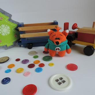 Лисенок в свитере мягкая вязаная игрушка
