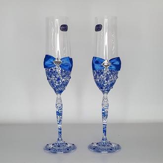 Весільні келихи з синіми візерунками (арт. WG-306)