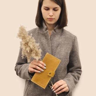 Женский кожаный кошелек  желтого цвета d-100