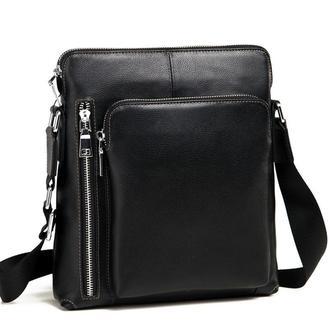 Стильная мужская черная классическая сумка-мессенджер из натуральной кожи.