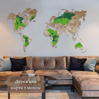 Карта мира из мхом. Декор для дома офиса. Оригинальный подарок из мха