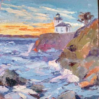 Картина маслом маяк на скале, закат на море.