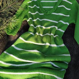 Летнее хлопковое платье - вязаное платье из хлопковой пряжи - зеленое платье